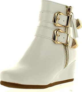 Link Peggy-90K Children Girl's Wedge Heel Double Straps High Top Ankle Booties