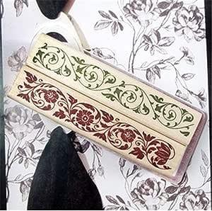 木质橡胶印章,5 件矩形韩国蕾丝 DIY 日记本 剪贴簿 图章套装 木制橡皮戳 用于剪贴簿 2pcs (Red +Green) 2pcs Assorted stamp