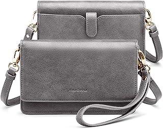 nuoku 女式小号斜挎包手机钱包带 RFID 卡插槽 2 条带腕带(*大 6.5 英寸) M Size Gray