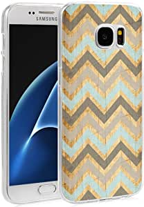 CCLOT 兼容弹性 TPU 硅胶保护套保护套替换装适用于三星 Galaxy S7 - 复古花设计图案 Galaxy S7-42
