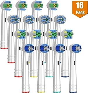 替换刷头兼容口腔 B,16 个装电动牙刷头适合 Oralb Braun 牙刷底座 - 4 个精密清洁,4 个牙线动作,4 个交叉作用和 4 个 3D 白色