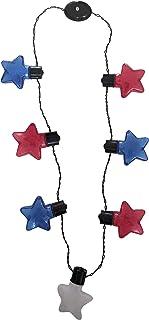 发光 LED 7 月 4 日红白蓝星闪烁项链