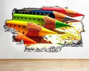 R999 彩色铅笔 艺术 绘画 散开 墙贴 3D 艺术贴纸 乙烯基房间儿童卧室婴儿房冷客厅厅男孩女孩 Huge (175x100cm)