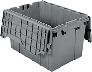 akro-mils 39120塑料存储和 distribution 容器手提带铰链盖, cm 长,5.08cm 宽,25.4CM 高, CASE OF 6 灰色 15-Inch by 12-1/2-Inch