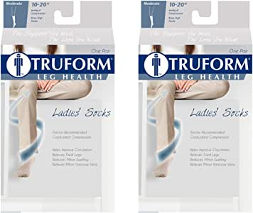 Truform Ladies 10-20 Casual Sock, White, XL (Pack of 2)