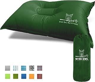 Wise Owl Outfitters 野营枕 轻质自充气 - 充气泡沫和空气紧凑型野营枕 适用于腰部支撑旅行飞机露营海滩吊床背包徒步睡