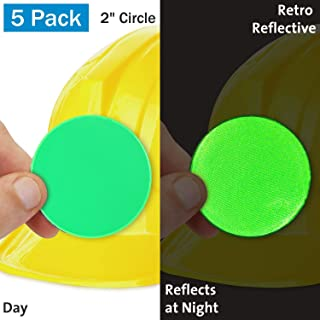 SmartSign 荧光绿复古反光硬质帽标签 | 5.08 厘米圆圈,10 件装