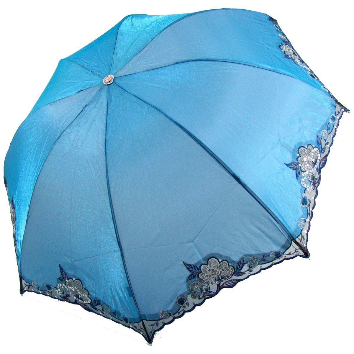 刺绣伞三折超强防紫外线遮阳伞v刺绣闪光布缀亮片天堂优派服装图片