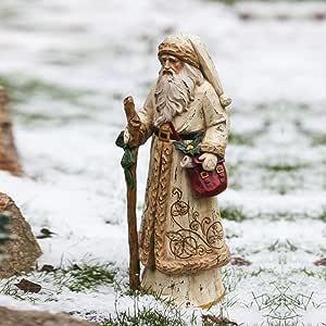 Gifted Living 出品的 Old World Santa 金色大衣雕像