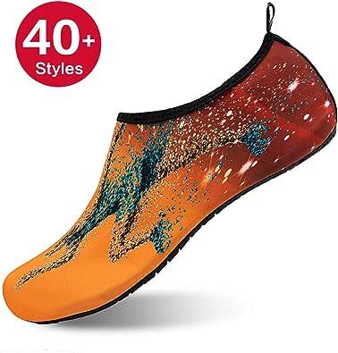 女式和男式水鞋赤脚速干浅绿色短袜适用于海滩游泳冲浪瑜伽 Orange/Running XXXL (Men:12-13)