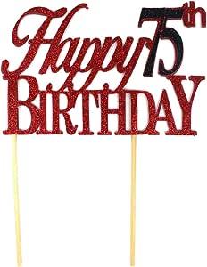 All About Details Happy 75 生日蛋糕装饰,1 件,75 生日,蛋糕装饰,派对装饰 红色和黑色 CATH75B