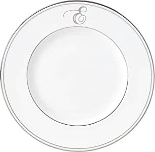 Lenox Federal Platinum Script Monogram 餐具装饰盘,E