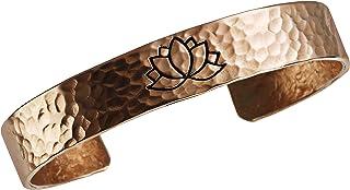DEMMEX 手工制作无涂层*厚 2mm * 土耳其铜莲花中性袖口手链,莲花代表纯度,启发,自我再生和重新生日,均码,适合所有人,1.27 cm 宽