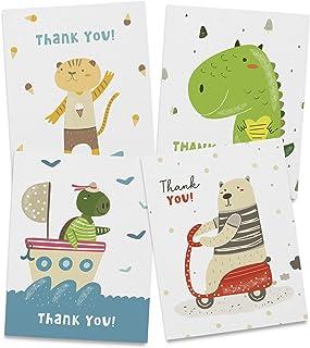 Twigs Paper - 儿童动物感谢卡 - 12 张空白卡片(5.5 x 4.25 英寸)带 12 个信封 - * 环保文具 - 美国制造(4 种设计,共 12 张卡片)