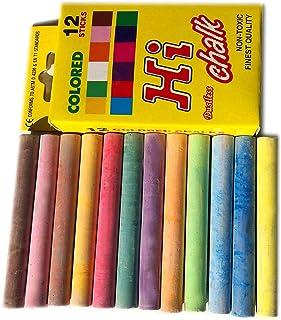 12 支彩色粉笔,各种无尘*亮色粉笔,适用于黑板黑板,儿童人行道绘画,教师办公室课堂商店家庭餐厅