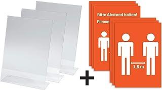 SIGEL 桌面支架 斜面 3 件 带说明 请保持距离(DIN A4中的6张)丙烯酸