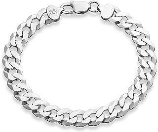 MiaBella 925 纯银意大利 9 毫米实心钻石切割古巴链条手链,20.32 厘米,21.59 厘米,22.86 厘米男士珠宝