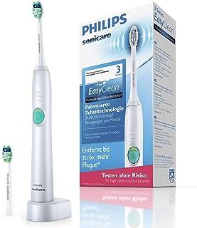 Philips 飞利浦 Sonicare EasyClean 电动牙刷 HX6512/45,采用声波技术,带有清洁程序,计时器和玻璃杯,双刷头,白色