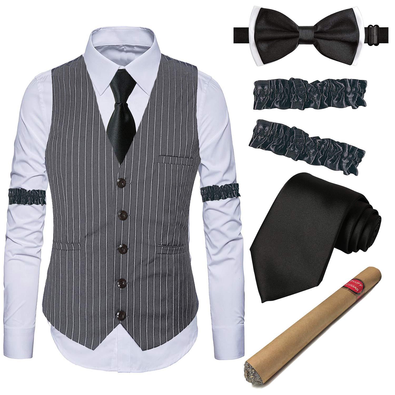 1920ギャツビー服メンズアクセサリー - ギャングにストライプのスーツと白いシャツや腕、偽の葉巻のおもちゃ、蝶ネクタイ、前のレースでベスト