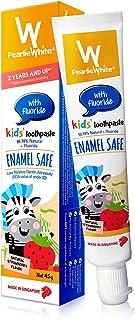 Pearlie White 99.78% 天然氟儿童牙膏(1.58 盎司,45 克) 'amel 儿童*牙膏,天然草莓味 1包