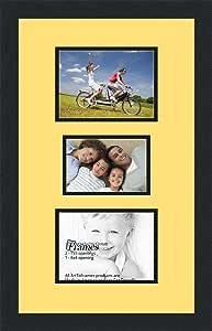 ArtToFrames 拼贴照片框双垫,带 3 个开口和黑色缎框。 Canary 1-4x6 and 2-5x7 Double-Multimat-282-47R/89-FRBW26079