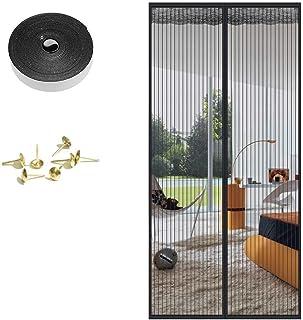 Nvetls 磁性屏幕门门门襟驱蚊昆虫屏幕网格窗帘适合门,易于安装,无需钻孔 黑色 34×83in