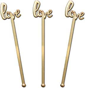 Royer 搅拌棒,Swizzle Stick,Drink Stirrers in Love Script 适用于婚礼、新娘送礼派对、情人节-颜色选择,15.24 厘米塑料,48 件套,美国制造 金色 6 Inches D47-6GB