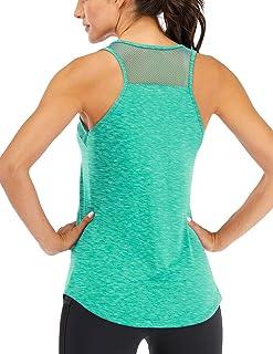 Fihapyli 女式无袖运动健身背心,网格缝合,透气运动上衣