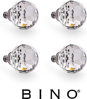 BINO 4 件装水晶橱柜把手抽屉拉手 - 1.5 英寸直径(38 毫米) 亮灰色(Satin Nickel) 24401-NIK-4