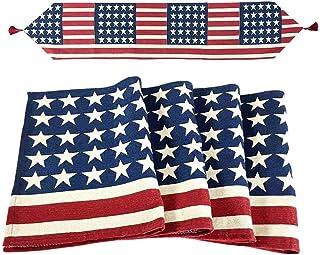 YEEFINE 桌布和 4 套餐垫美国国旗爱国复古桌布家居装饰,餐桌垫套装,4 套餐垫和 1 个桌布 1*Table Runner + 4*Placemats SUN-01