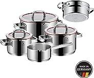 WMF 760066380 功能 4 廚具套裝,含蒸汽插芯,不銹鋼,透明,20厘米,5件裝