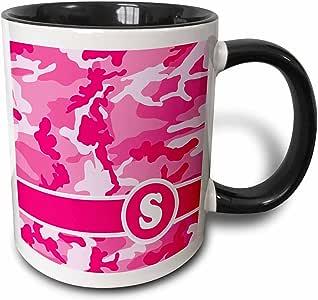 3drose janna salak 设计交织字母系列–可爱粉色迷彩迷彩字母 S–马克杯 黑色/白色 11 oz