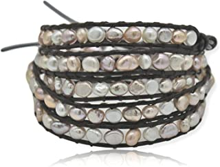 MGR MY GEMS ROCK! 多层手工制作波西米亚真石串珠真皮*缠绕手链 88.9 厘米长,*多 5 个缠绕。