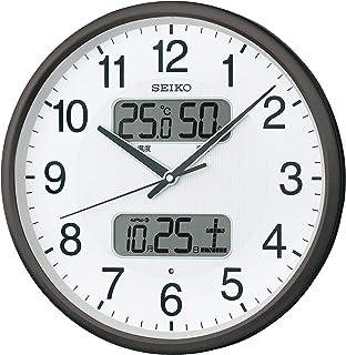 セイコークロック 掛け時計 黒 本体サイズ:直径35.0x5.2cm 電波 アナログ カレンダー温度 湿度 表示 BC405K