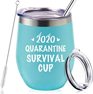 2020 Quarantine 生存杯 - 给朋友、妈妈、女性、男人的隔离生日礼物 - 趣味 Stay at Home 21st 30th 40th 50th 60th 礼物 - 12 盎司真空保温酒杯 带吸管
