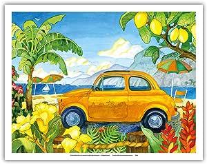 """Little Cinquecento - 菲亚特汽车 - 热带海滩天堂 - 夏威夷群岛 - 来自罗宾·魏尔曼原始水彩画 - 精美艺术印刷品 11"""" x 14"""" APBRA24"""