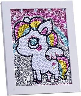 VVEEWUU Easy 5D 钻石绘画套装带框架儿童全钻画数字套件儿童礼品(小马)
