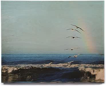 "KESS InHouse Robin Dickinson""I'll Follow"" 蓝色海岸桦木墙壁艺术 12"" x 12"" RD1161AHW03"
