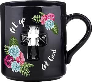 CB Gift Papel Let Go, Let God Cross Coffee Mug, Black