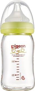 Pigeon 贝亲 婴儿自然实感耐热玻璃奶瓶 160ml 绿色瓶盖