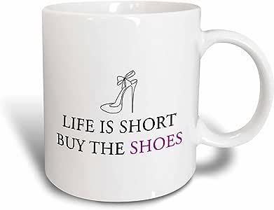 3dRose 222208_5 Life Is Short 购买鞋子双色马克杯,311 盎司,红色