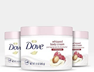 Dove 多芬润肤身体霜干燥肌肤润肤乳石榴和乳木果油滋养肌肤深层 10 盎司,3 支装