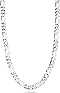 MiaBella 纯 925 纯银意大利 5mm 钻石切割费加罗链项链女士,40.64 厘米,45.72 厘米,50.8 厘米,55.88 厘米,60.96 厘米,66.04 厘米,76.20 厘米