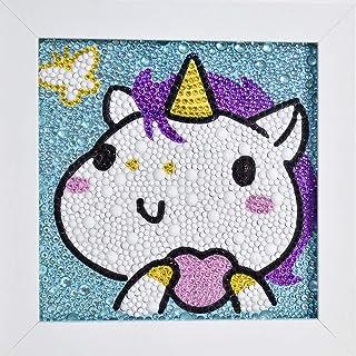 ZHSHERLI Easy 5D 儿童钻石绘画工具包,带木框,全钻画数字套件,适用于家庭墙壁装饰(马)