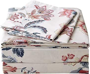FADFAY 花卉床上用品 4 件套,* 纯棉深口袋 复古牡丹花 Queen