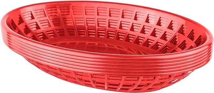 Bear Paw Products - 塑料食品篮 - 椭圆形篮子 - 完美适合朋友、汉堡、三明治等! 红色