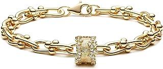 Mevecco 金色串珠手链,14K 镀金手工制作可爱卫星钻石切割椭圆形圆形串珠绳链精美手链