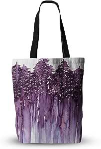 "KESS InHouse Ebi Emporium ""树树树森林 2"" 紫色白色 Everything 手提袋 多种颜色 16"" x 16"" JD1206ATB02"