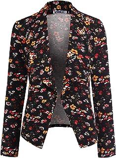 NINEXIS 女士纯色印花休闲长袖弹力前开式夹克加大码
