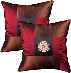 Queenie - 2 件丝绸装饰性刺绣中国/东方枕套沙发靠垫套 16 X 16 英寸 40 X 40 厘米 Central Panel Color Burgundy 18 Inch 1